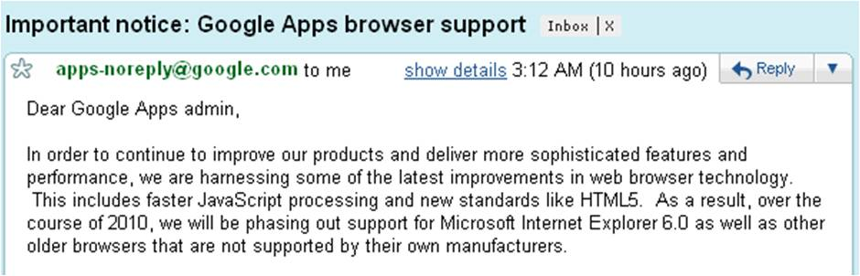 google phases out ie6